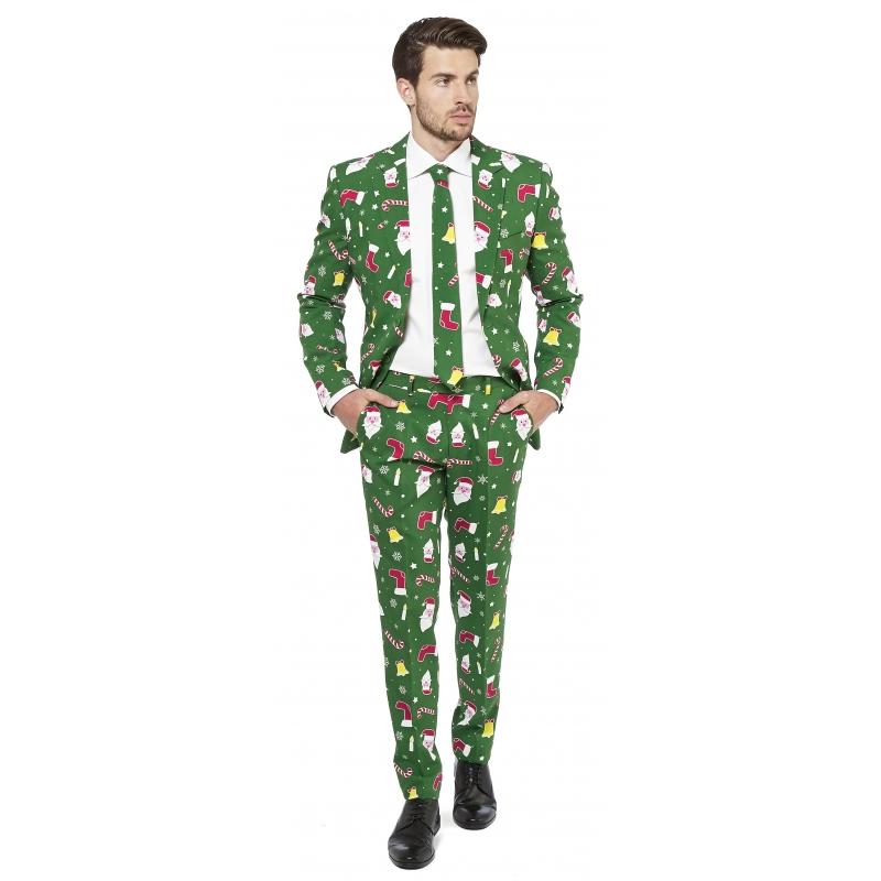 Heren kostuum groen met kerst print