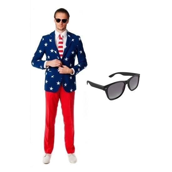 Heren kostuum met Amerikaanse vlag print maat 54 (2XL) met grati
