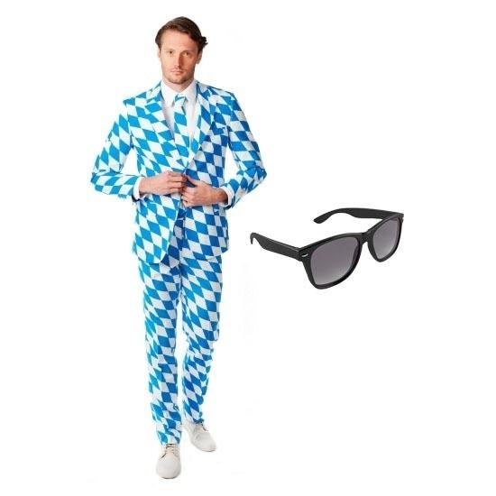 Heren kostuum met Beierse print maat 54 (2XL) met gratis zonnebr