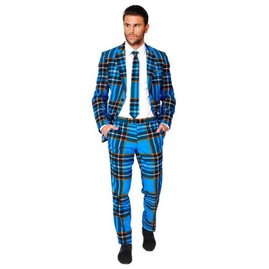 Heren kostuum met blauwe Schotse print