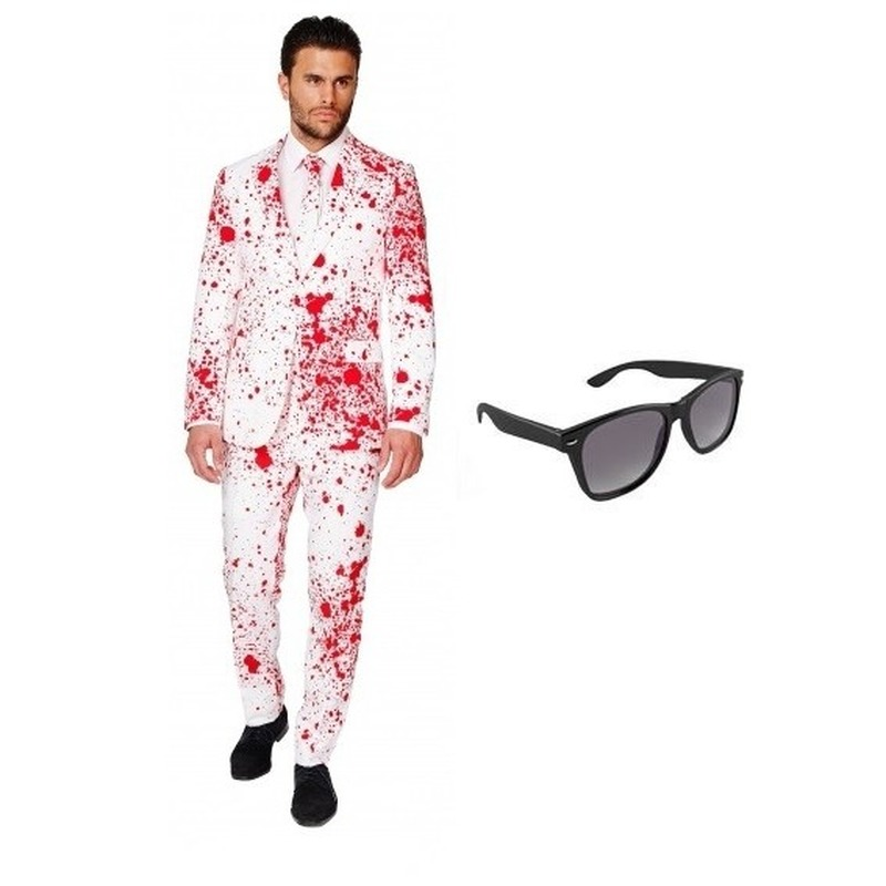 Heren kostuum met bloed print maat 46 (S) met gratis zonnebri