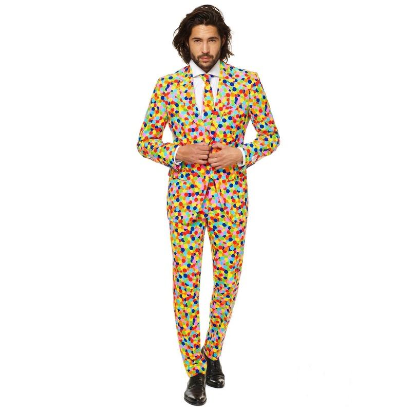 Heren kostuum met confetti print