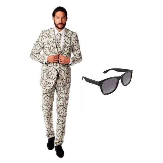 Heren kostuum met dollar print maat 54 (2XL) met gratis zonnebri