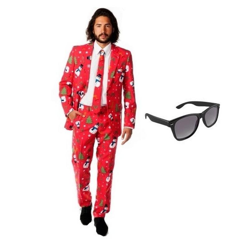 Heren kostuum met kerst print maat 54 (2XL) met gratis zonnebril