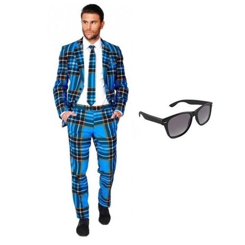 Heren kostuum met Schotse print maat 56 (3XL) met gratis zonnebr