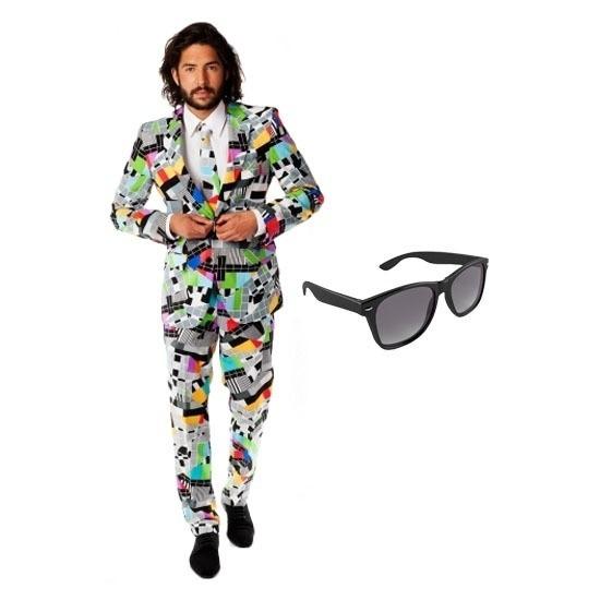 Heren kostuum met televisie print maat 52 (XL) met gratis zonneb