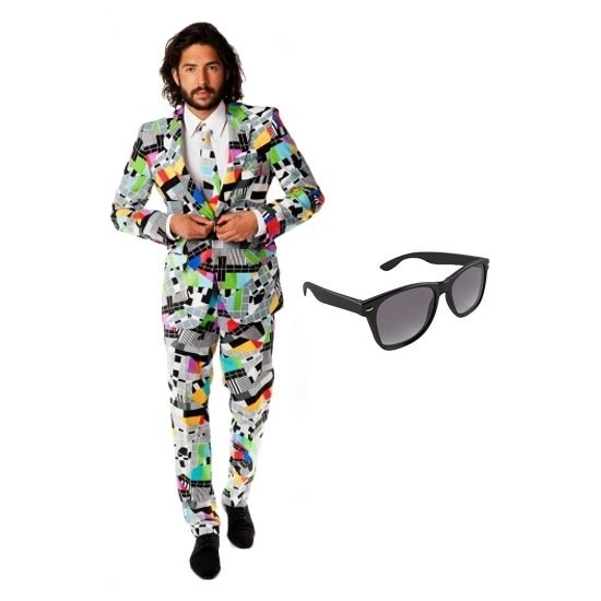 Heren kostuum met televisie print maat 54 (2XL) met gratis zonne