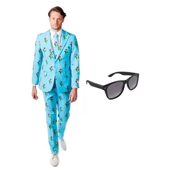 Heren kostuum met tulpen print maat 54 (2XL) met gratis zonnebri