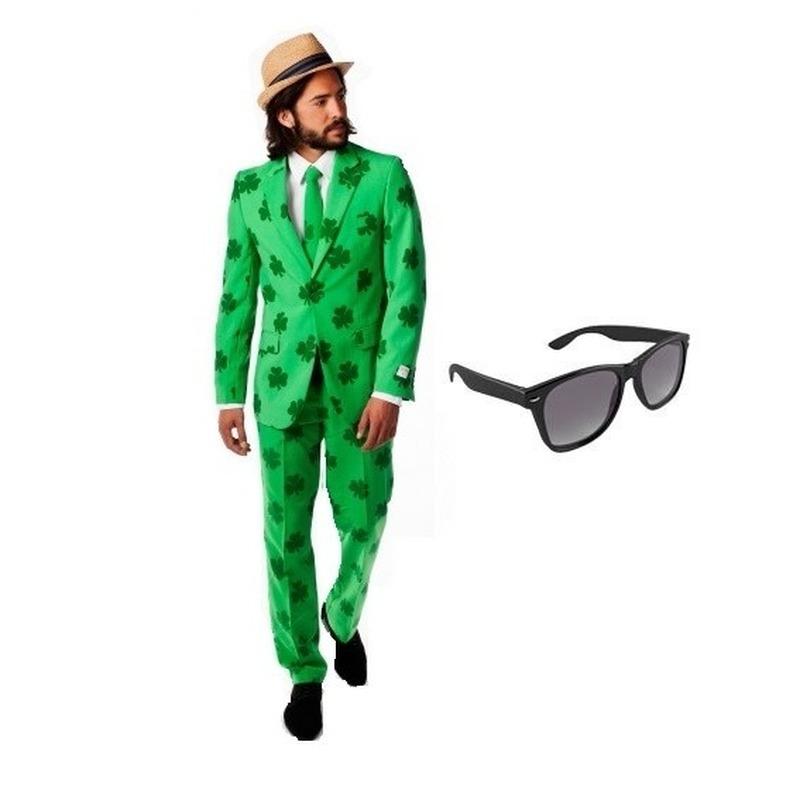 Heren kostuum Sint Patricks Day maat 54 (2XL) met gratis zonnebr