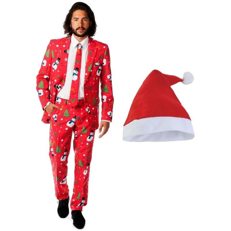 Heren Opposuits Kerst kostuum rood met kerstmuts - maat 50 (L)