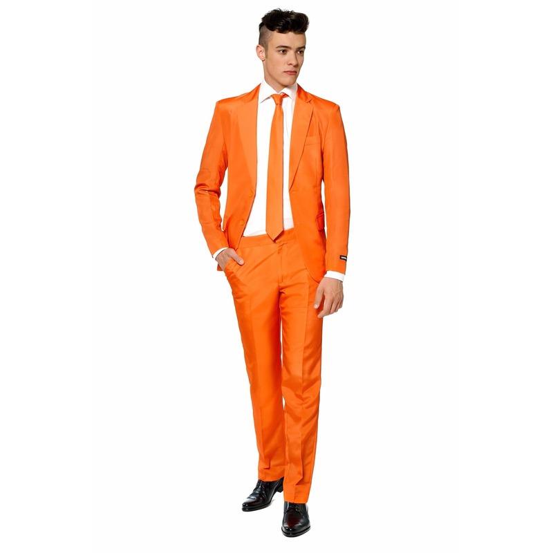 Heren pak oranje met stropdas