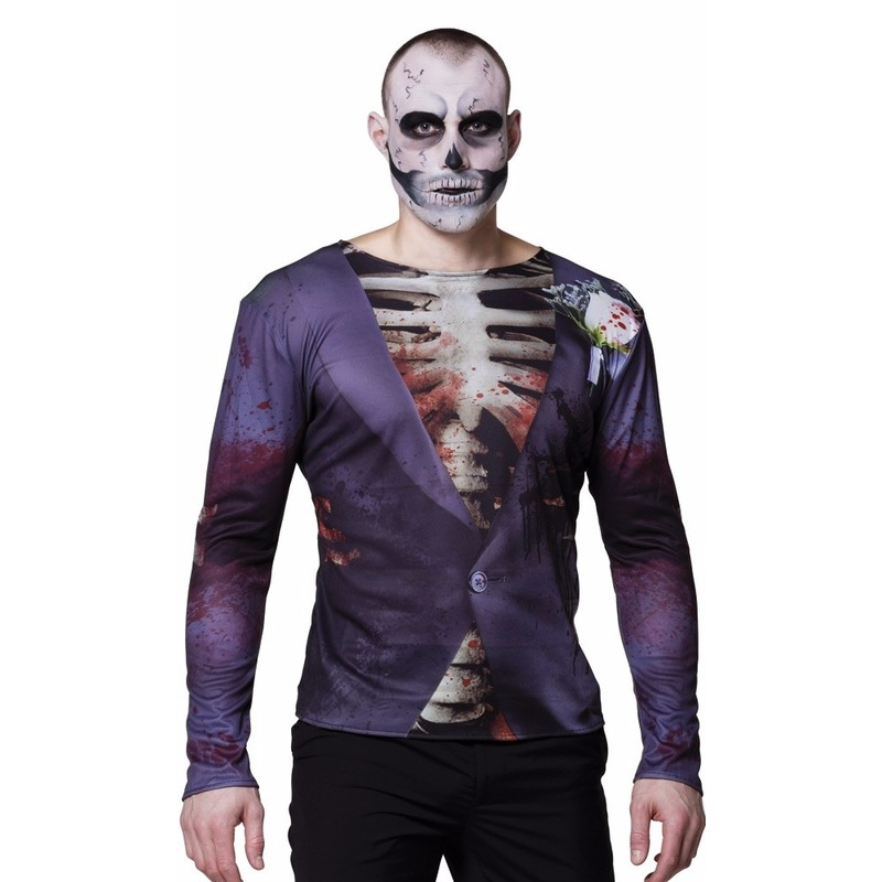 Heren shirt met zombie bruidegom