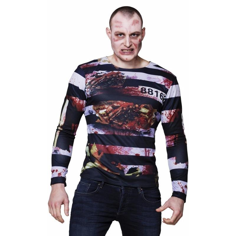 Heren shirt met zombie gevangene opdruk