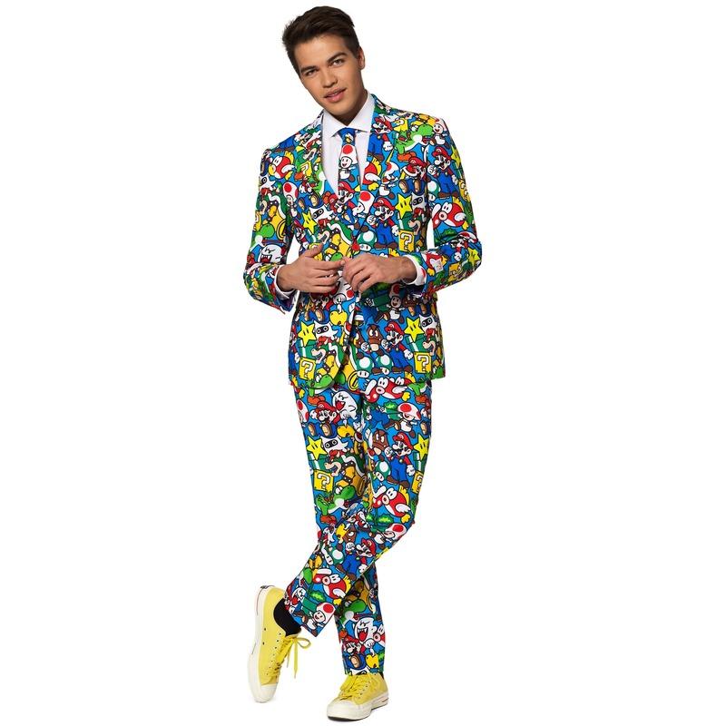 Heren verkleed pak/kostuum Super Mario print