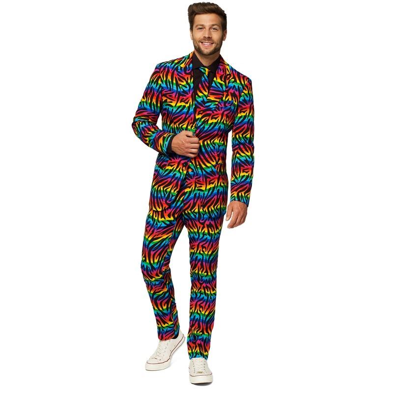 Heren verkleed pak/kostuum zebra regenboog print