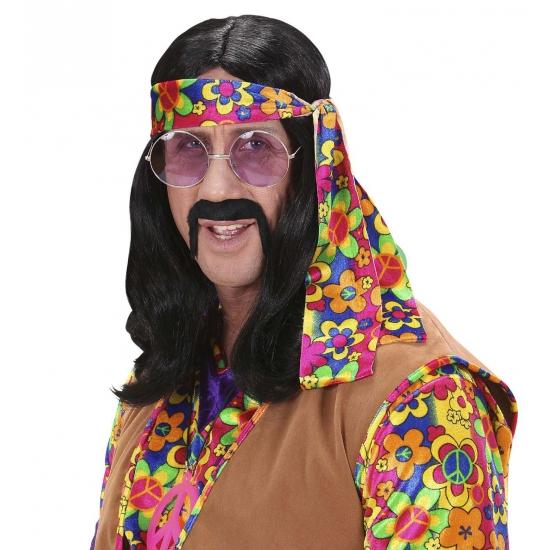 Hippie pruik met lang zwart haar