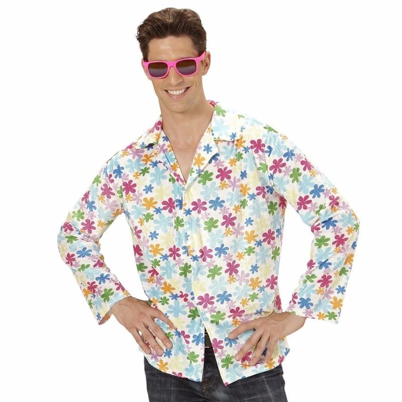 Hippie verkleed overhemd wit/gekleurd voor heren