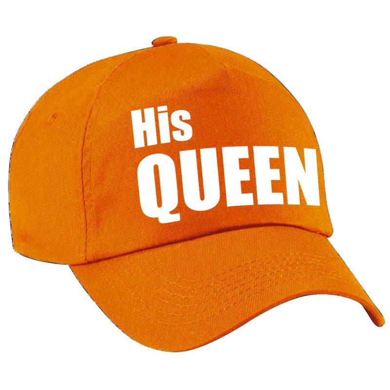 His Queen pet - cap oranje met witte letters dames