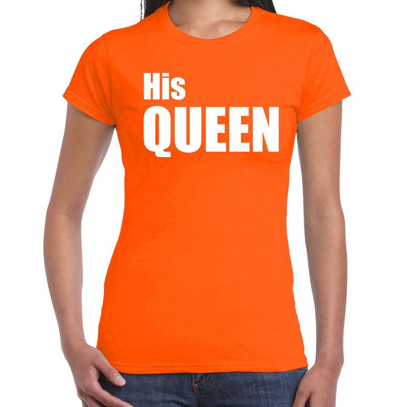 His queen t-shirt oranje met witte letters voor dames