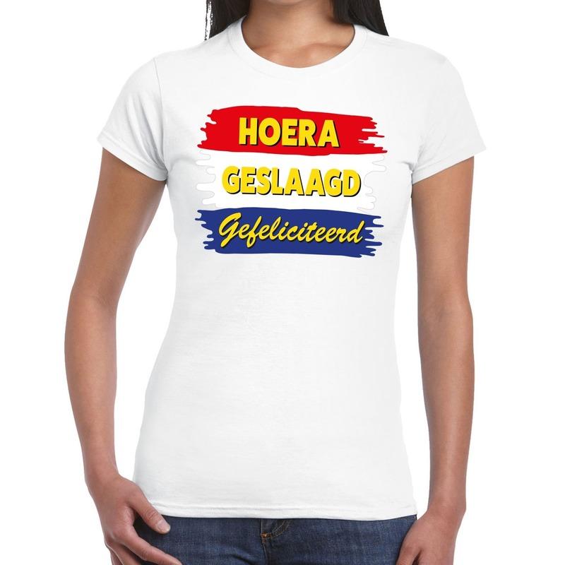 Hoera geslaagd gefeliciteerd t-shirt wit dames