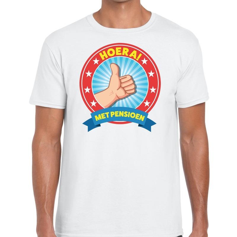 Hoera met pensioen t-shirt wit heren