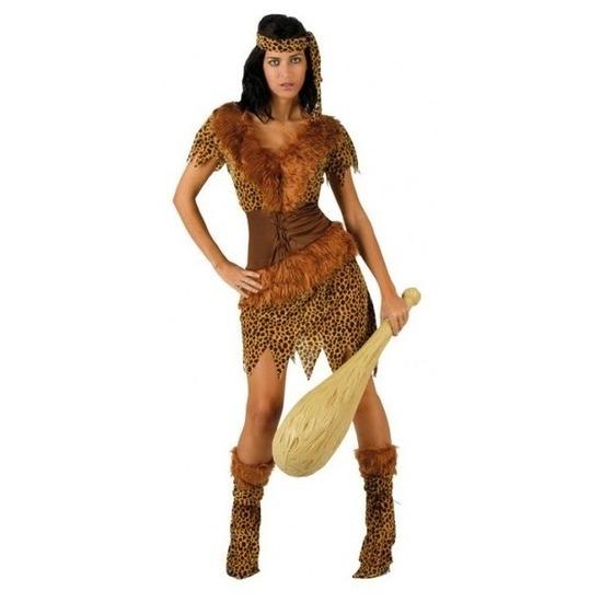 Holbewoonster/cavewoman Ayla verkleed kostuum/jurk dames