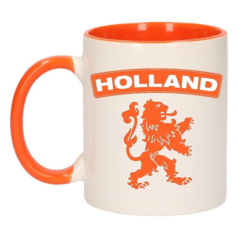 Holland oranje leeuw mok/ beker oranje wit 300 ml