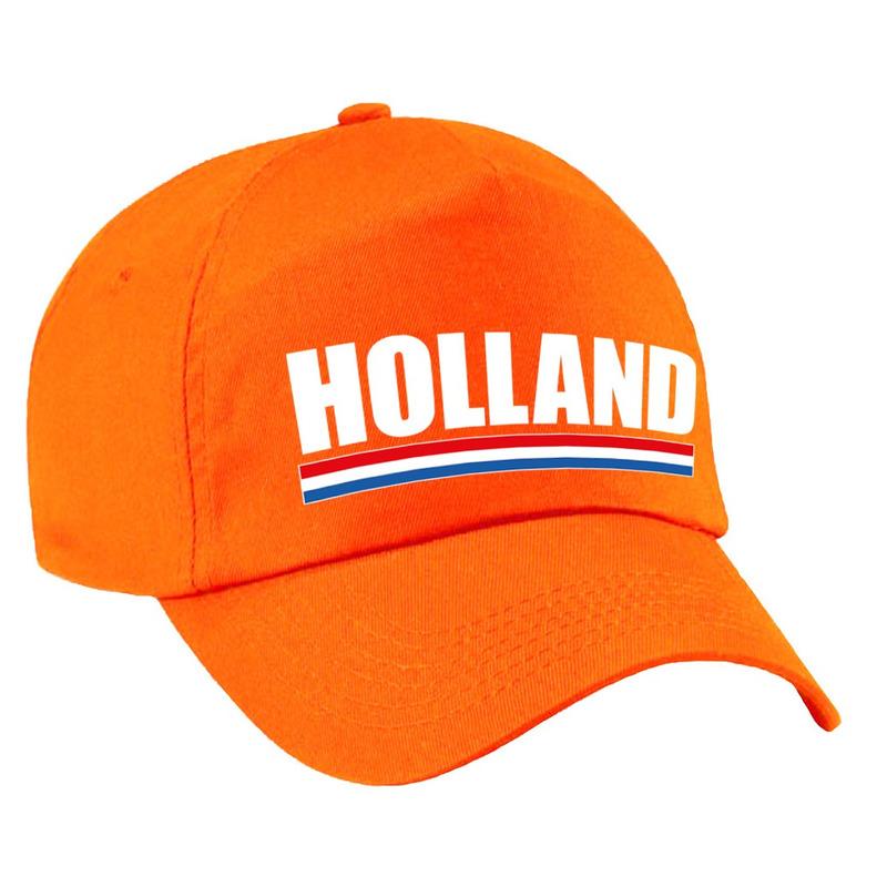 Holland supporter pet - cap Nederland oranje kinderen