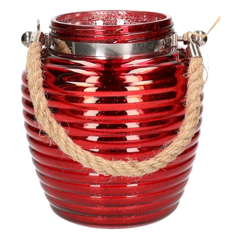 Home deco windlicht lantaarn rood 16 cm