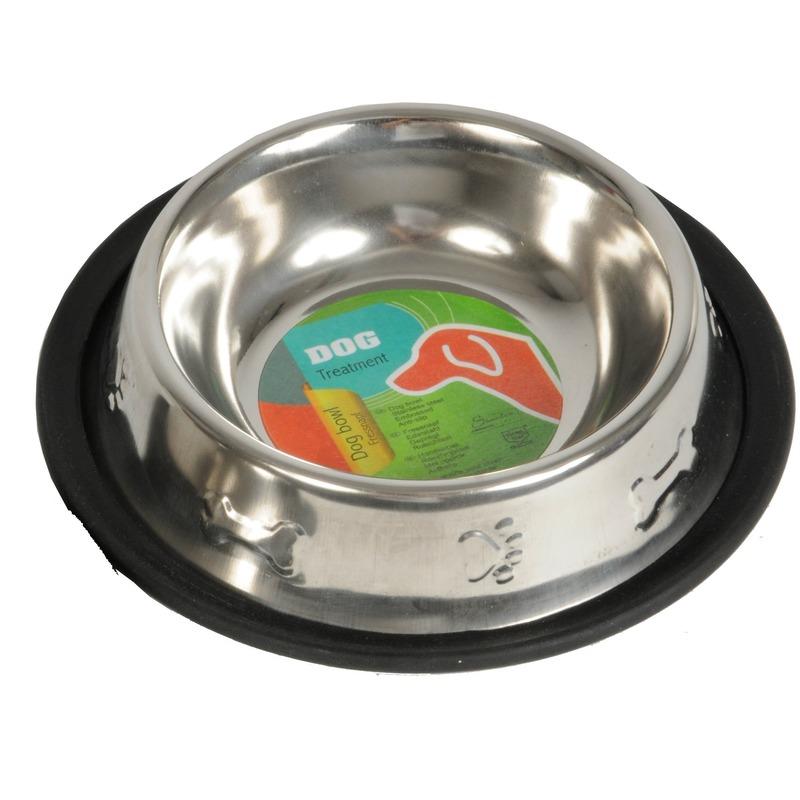 Honden voederbak of drinkbak 250ml RVS met relief