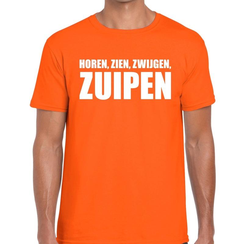 Horen Zien Zwijgen Zuipen tekst t-shirt oranje heren