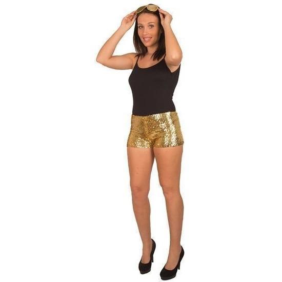 Hotpants met pailletten goud voor dames