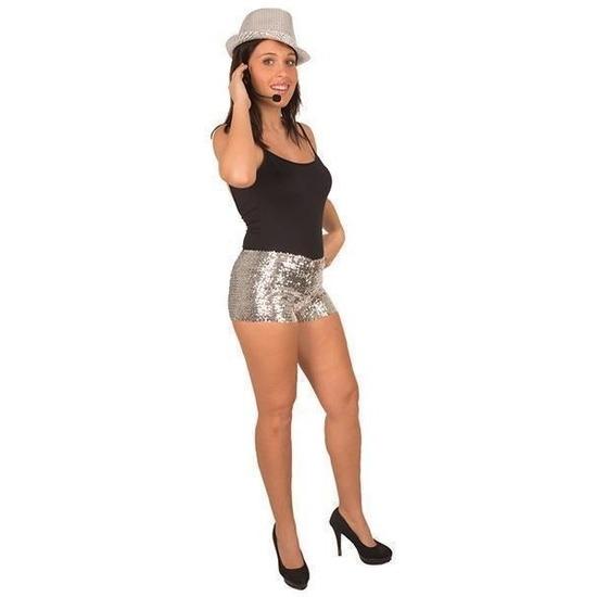 Hotpants met pailletten zilver voor dames