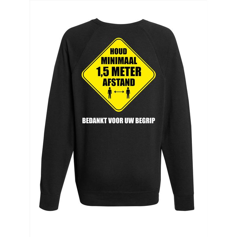 Houd 1,5 meter afstand bedankt sweater zwart voor heren