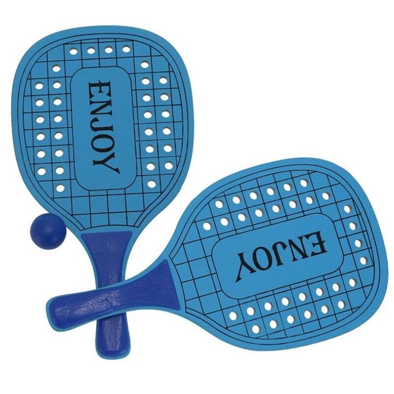 Houten beachball set blauw