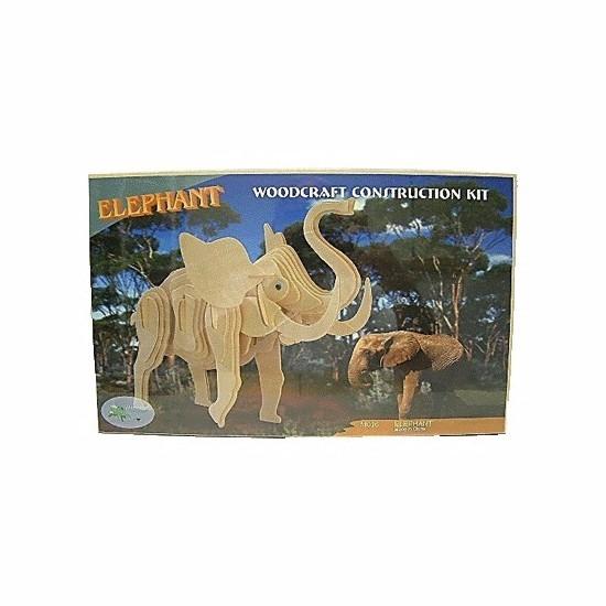 Houten bouwpakket olifant Beige