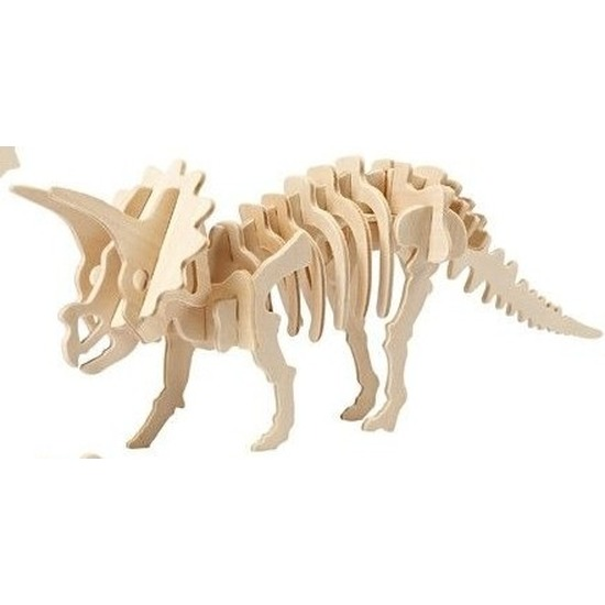Houten bouwpakket Triceratops Bruin
