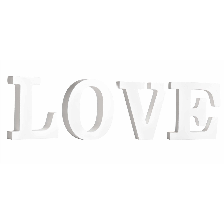 Houten deco hobby letters - 4x losse witte letters om het woord LOVE te maken