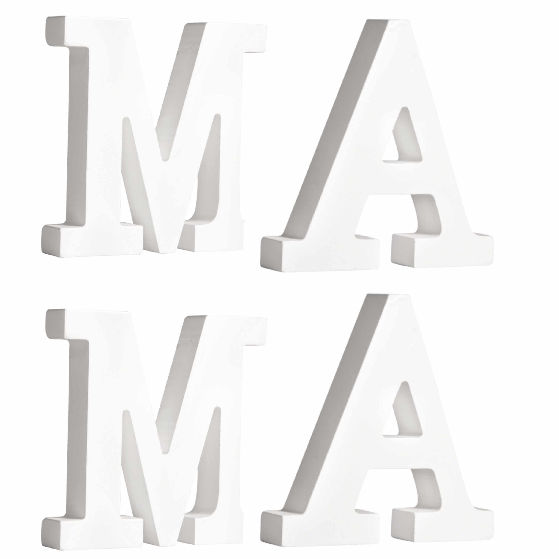 Houten deco hobby letters - 4x losse witte letters om het woord MAMA te maken