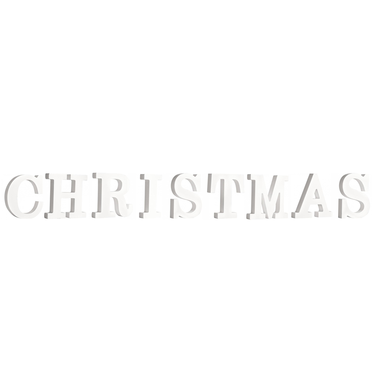 Houten deco hobby letters - 9x losse witte letters om het woord Christmas te maken