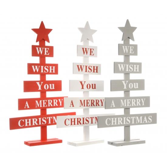 Houten kerstboom wit Merry Christmas 51 cm