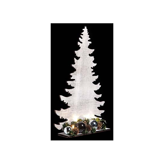 Houten kerstboom wit met licht 36 cm