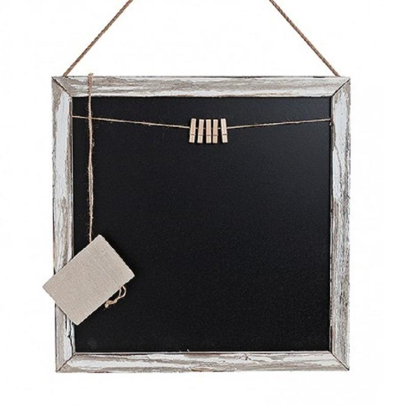 Houten memo krijtbord met knijpertjes 45 x 45 cm