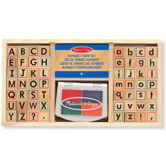 Houten speelgoed stempelset alfabet