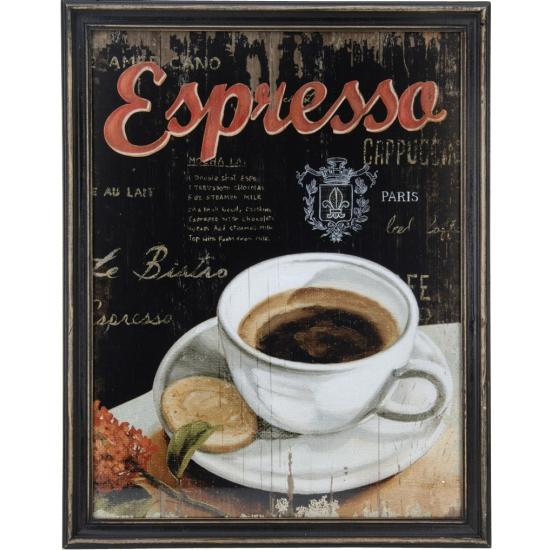 Houten vintage schilderij koffie espresso