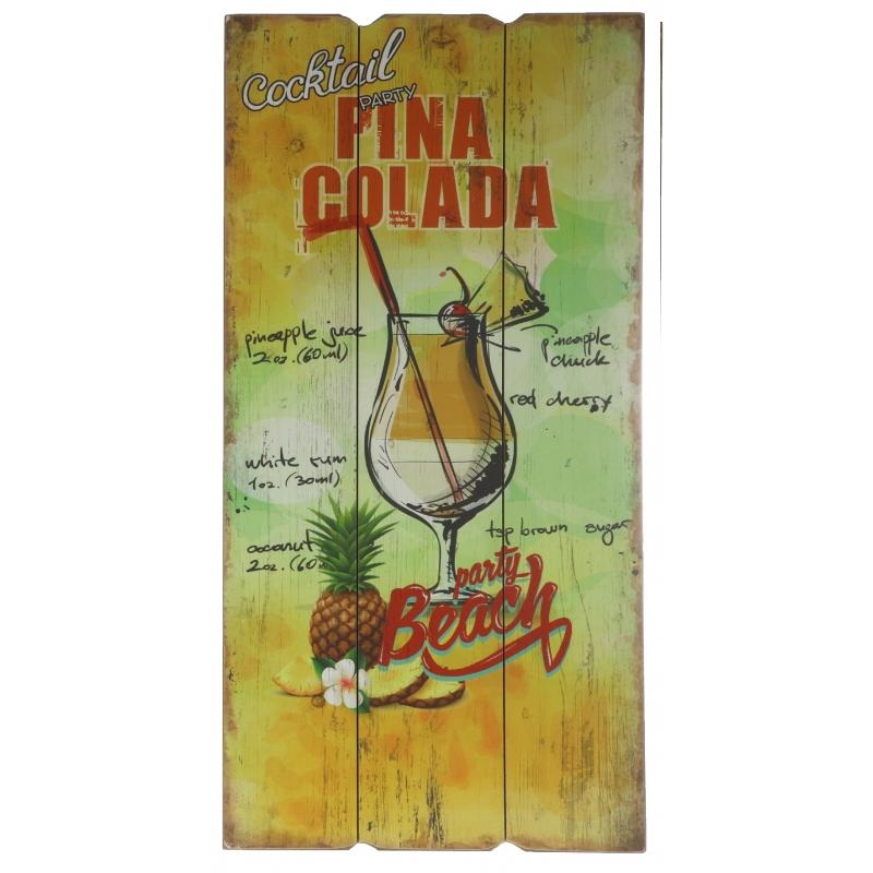 Houten wandbordje Pina Colada