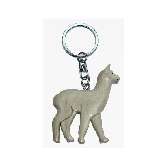 Houten witte lama sleutelhanger