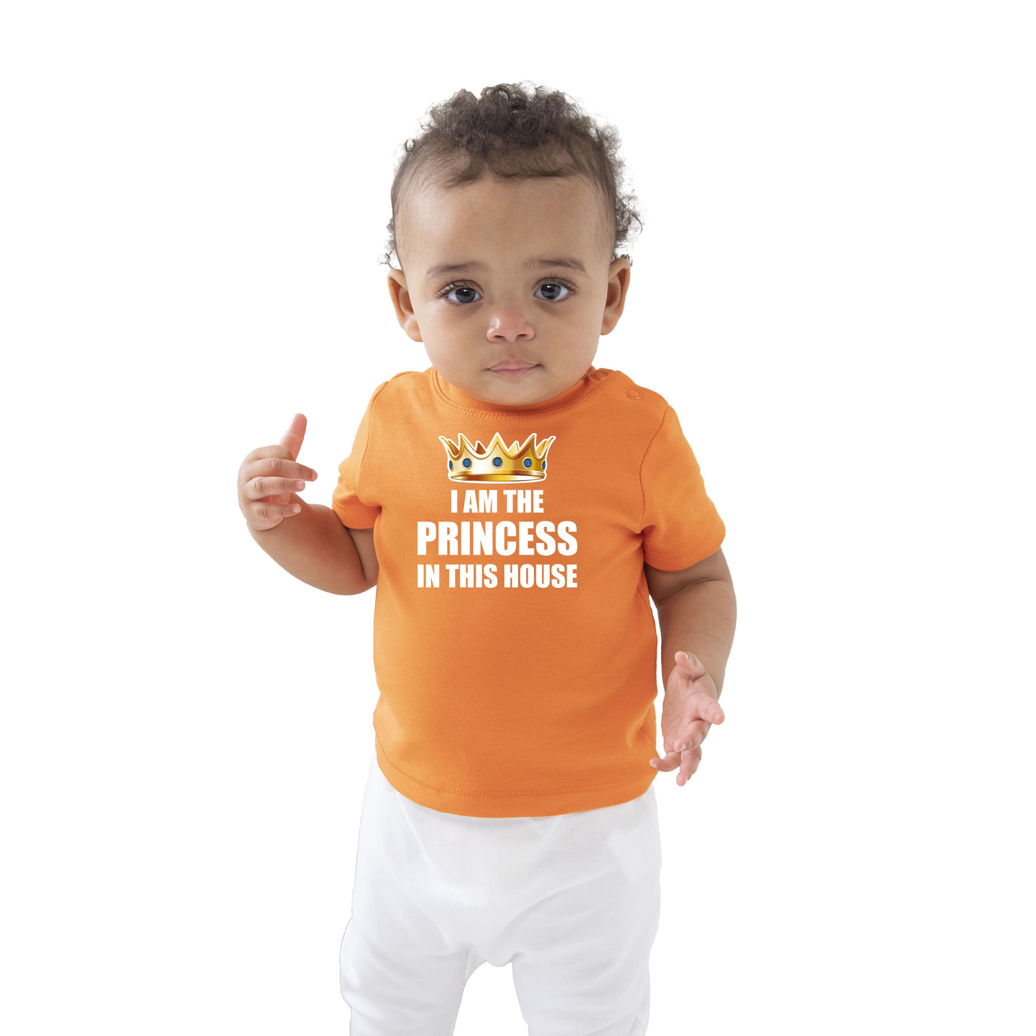 I am the princess in this house Koningsdag t-shirt oranje baby/peuter voor meisjes