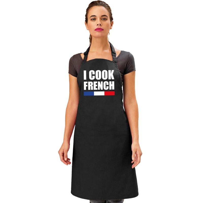 I cook French keukenschort Zwart