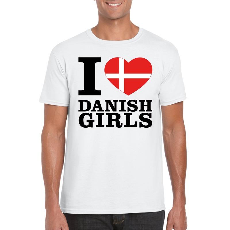 I love Danish girls t-shirt wit heren